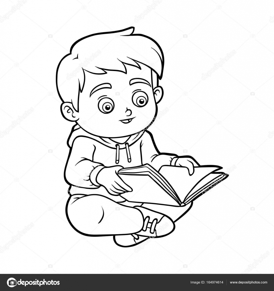 Coloring Book Young Boy Reading A Book Stock Vector