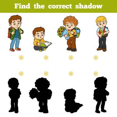 Find the correct shadow, game for children, Schoolchildren