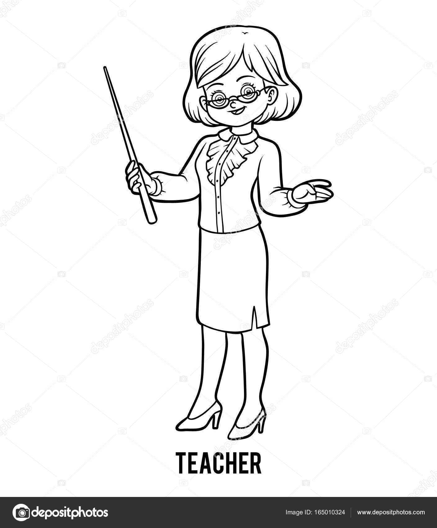 Раскраска учитель. Раскраска, учитель — Векторное ...
