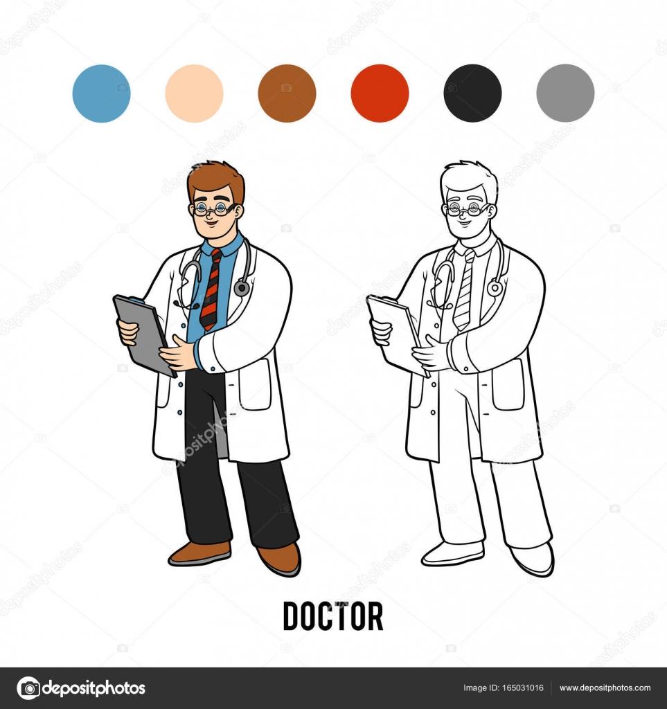 Boyama Kitabı Doktor Stok Vektör Ksenyasavva 165031016