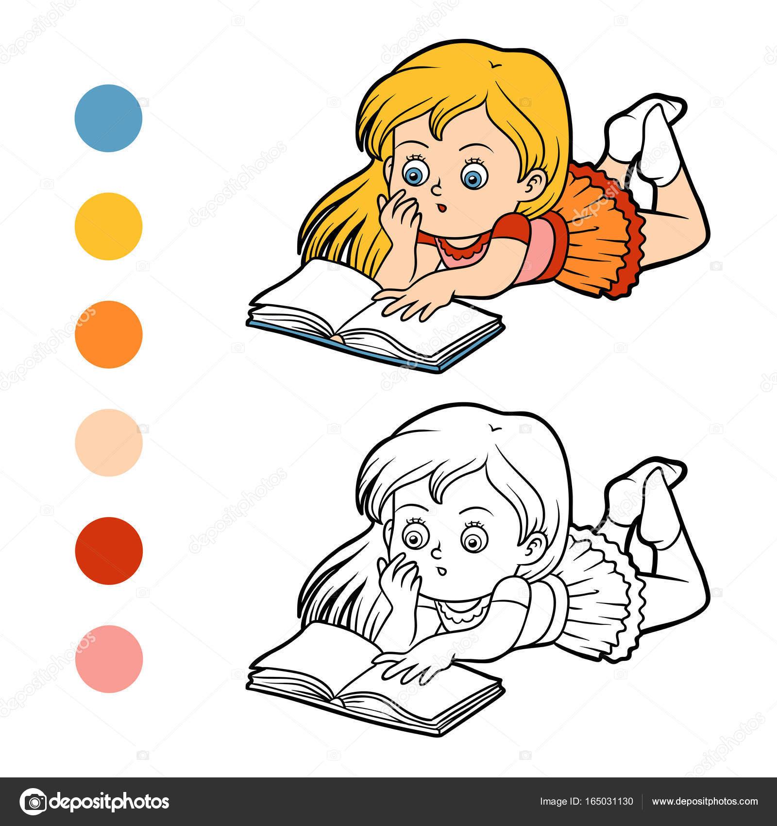 Libro, niña, leyendo un libro para colorear — Archivo Imágenes ...