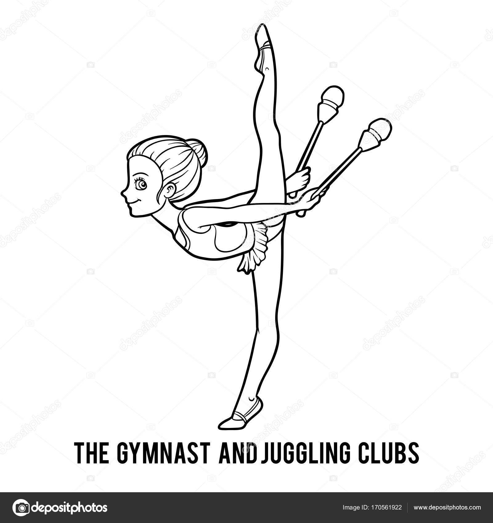 Libro para colorear, la gimnasta y malabares clubs — Vector de stock ...