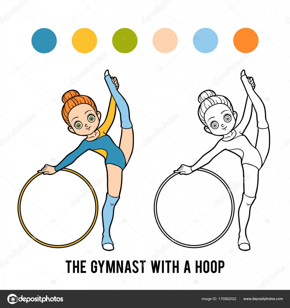 Libro para colorear, el gimnasta con un aro de — Vector de stock ...