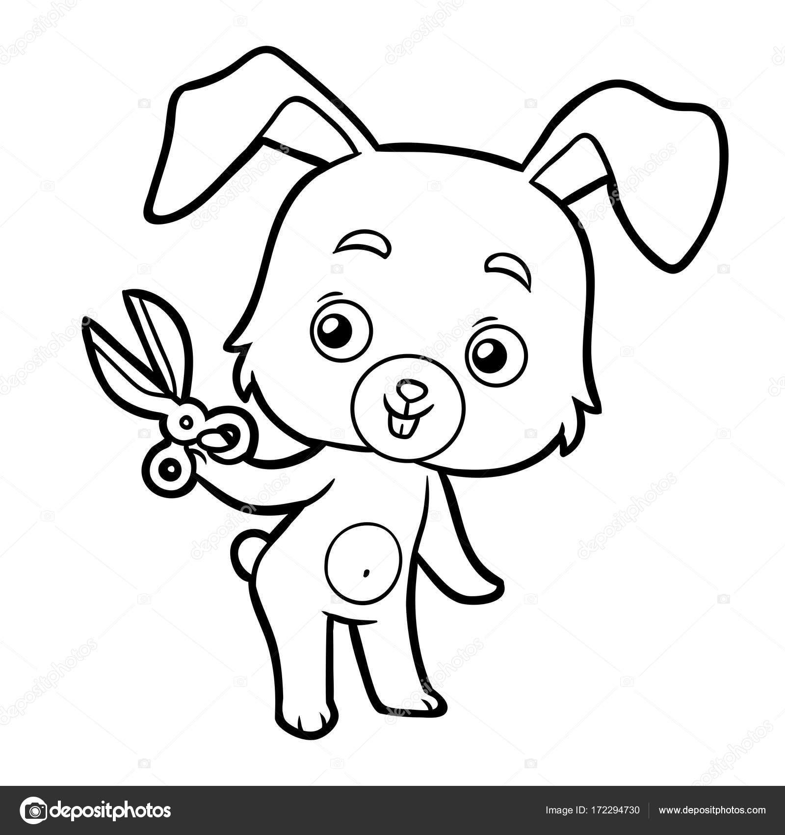 Forbici Coniglio E Libro Da Colorare Vettoriali Stock