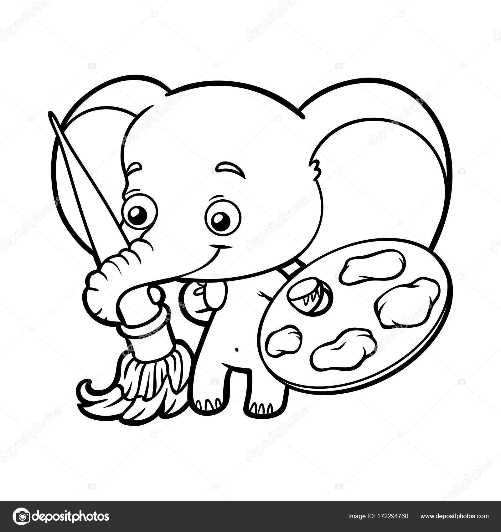 Coloring book, elephant with paints and a brush — Stock Vector ...