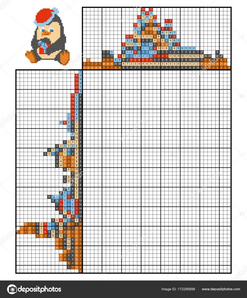 paint by number puzzle nonogram penguin stock vector ksenya savva 172295898. Black Bedroom Furniture Sets. Home Design Ideas