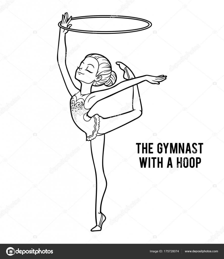 Libro para colorear, el gimnasta con un aro de — Archivo Imágenes ...