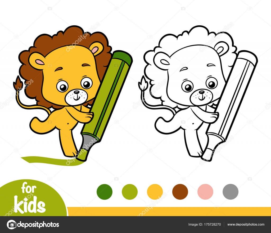 livre de coloriage pour les enfants lion vecteur par ksenya_savva