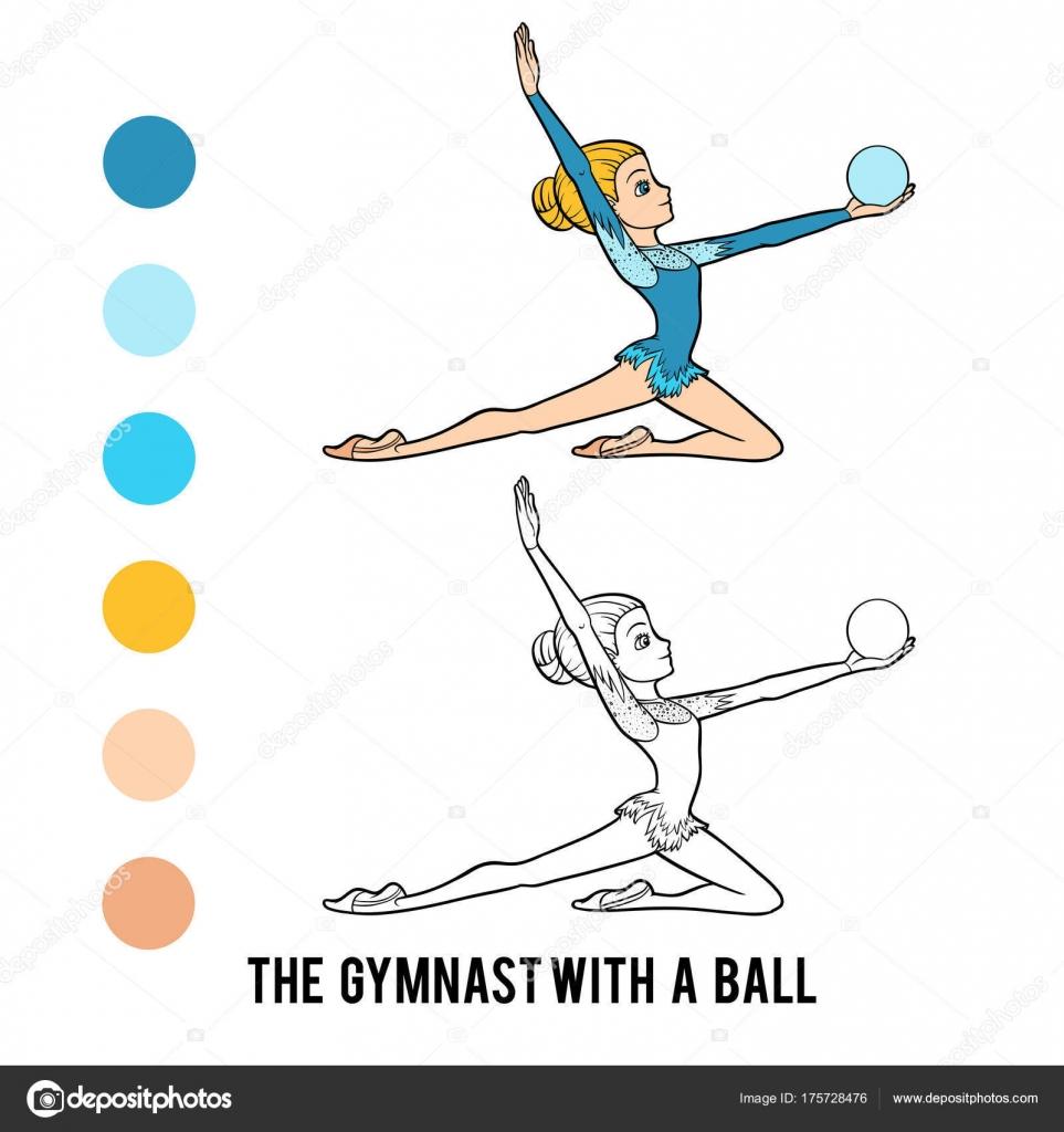 Раскраска, Гимнастка с мячом — Векторное изображение ...