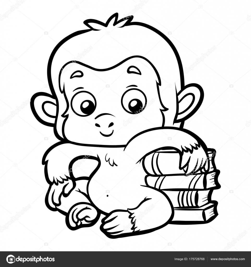 Libro para colorear, mono y libros — Archivo Imágenes Vectoriales ...
