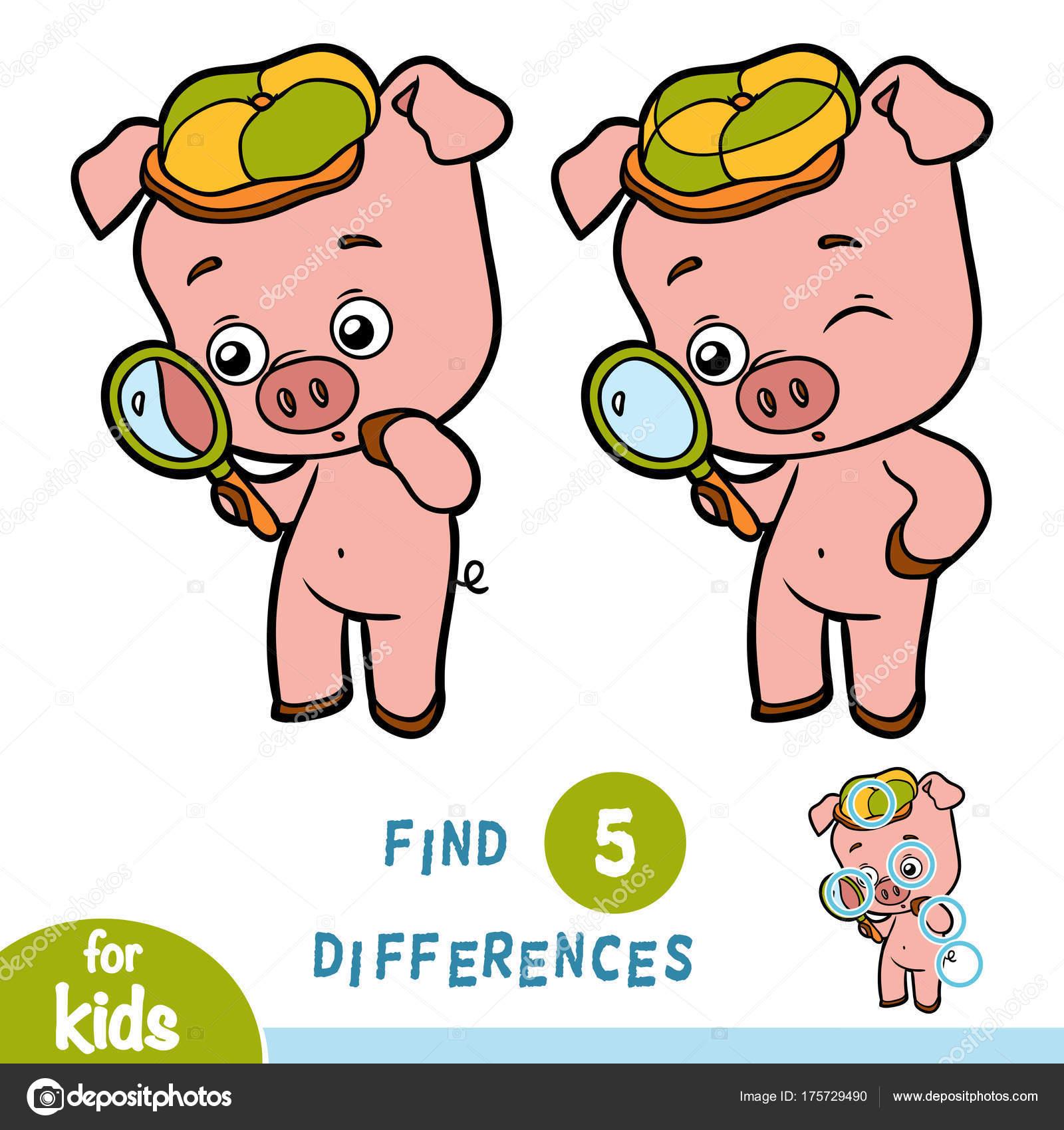 Encontrar diferencias, juego de la educación, el cerdo y lupa ...