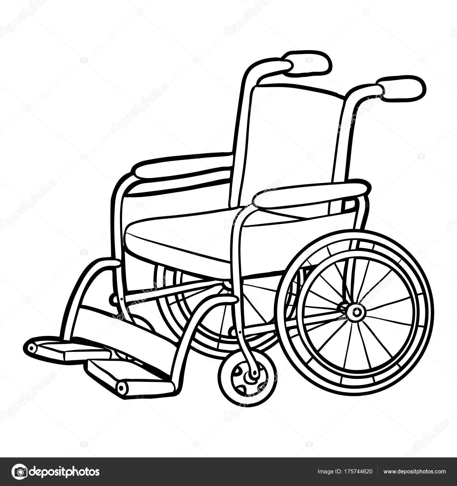 Boyama Kitabı Tekerlekli Sandalye Stok Vektör Ksenyasavva