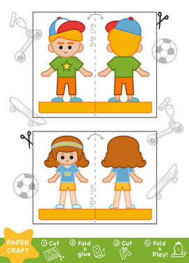 Education Paper Crafts for children, Sporty schoolboy and school