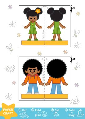 Education Paper Crafts for children, African American boy and gi