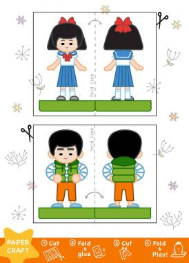 Education Paper Crafts for children, Asian boy and Japanese scho