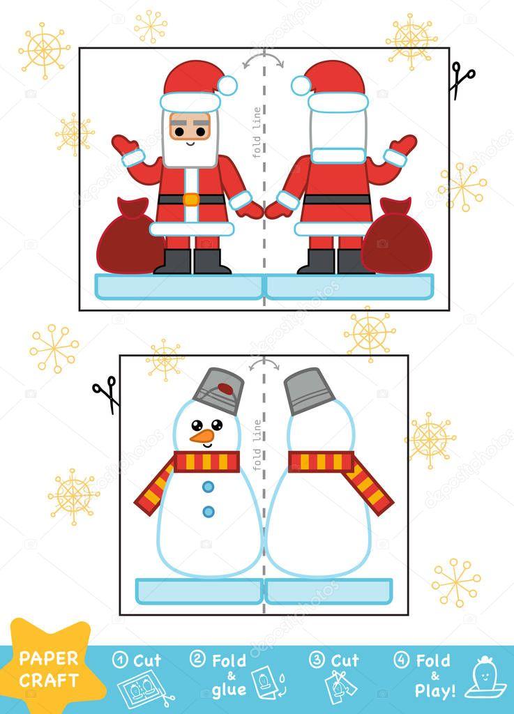 Bildung Weihnachten Papier basteln für Kinder, Schneemann und Santa ...