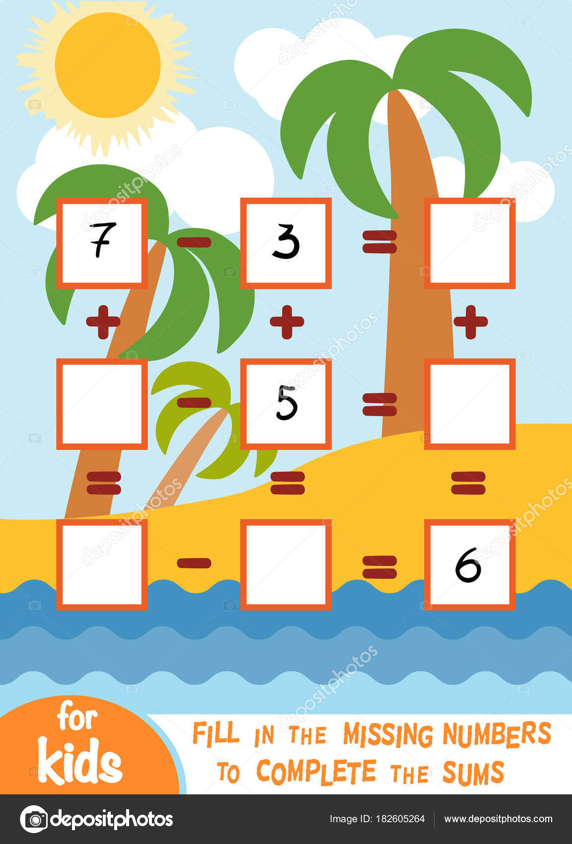 Counting Game for Preschool Children. Addition and subtraction ...