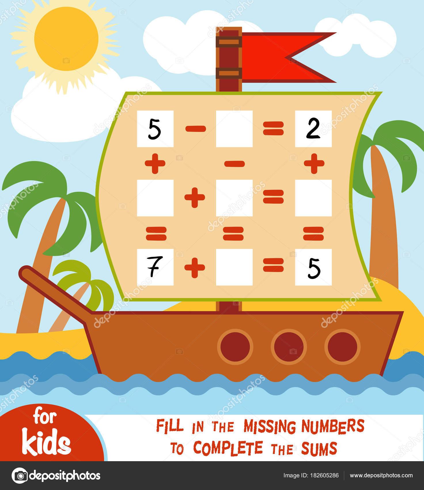 Oyun Okul öncesi çocuklar Için Sayma Geminin Arka Planda Toplama Ve