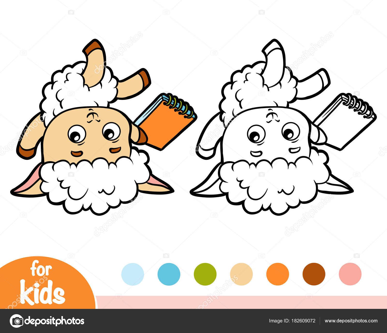 Coloring Book, Schafe Schriftsteller mit einem Bleistift und einem ...
