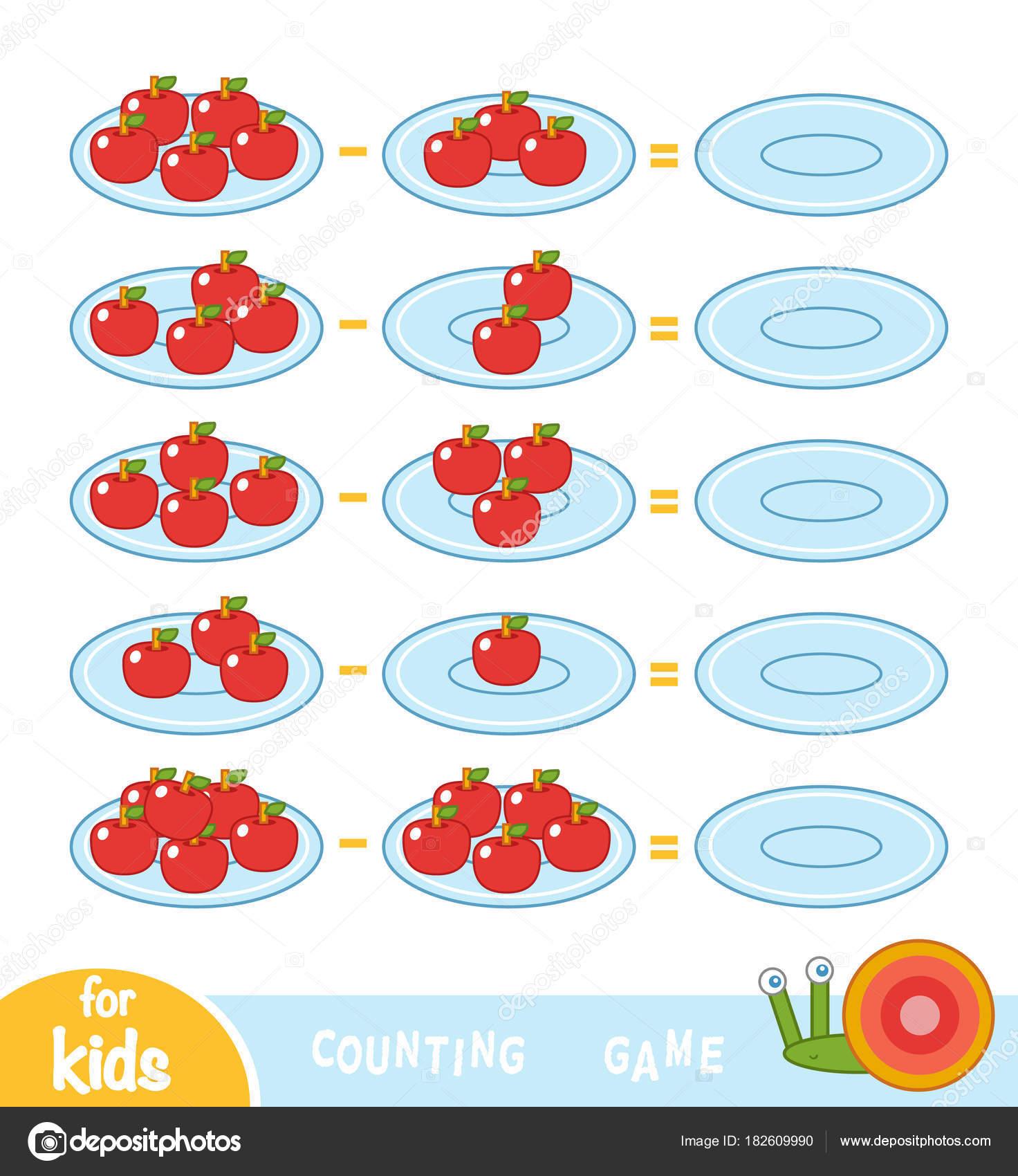 Zählen Spiel für Kinder. Die Anzahl der Äpfel auf den Tellern und ...