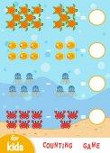 Zählspiel für Kinder. die Anzahl der Meerestiere zählen und das Ergebnis schreiben
