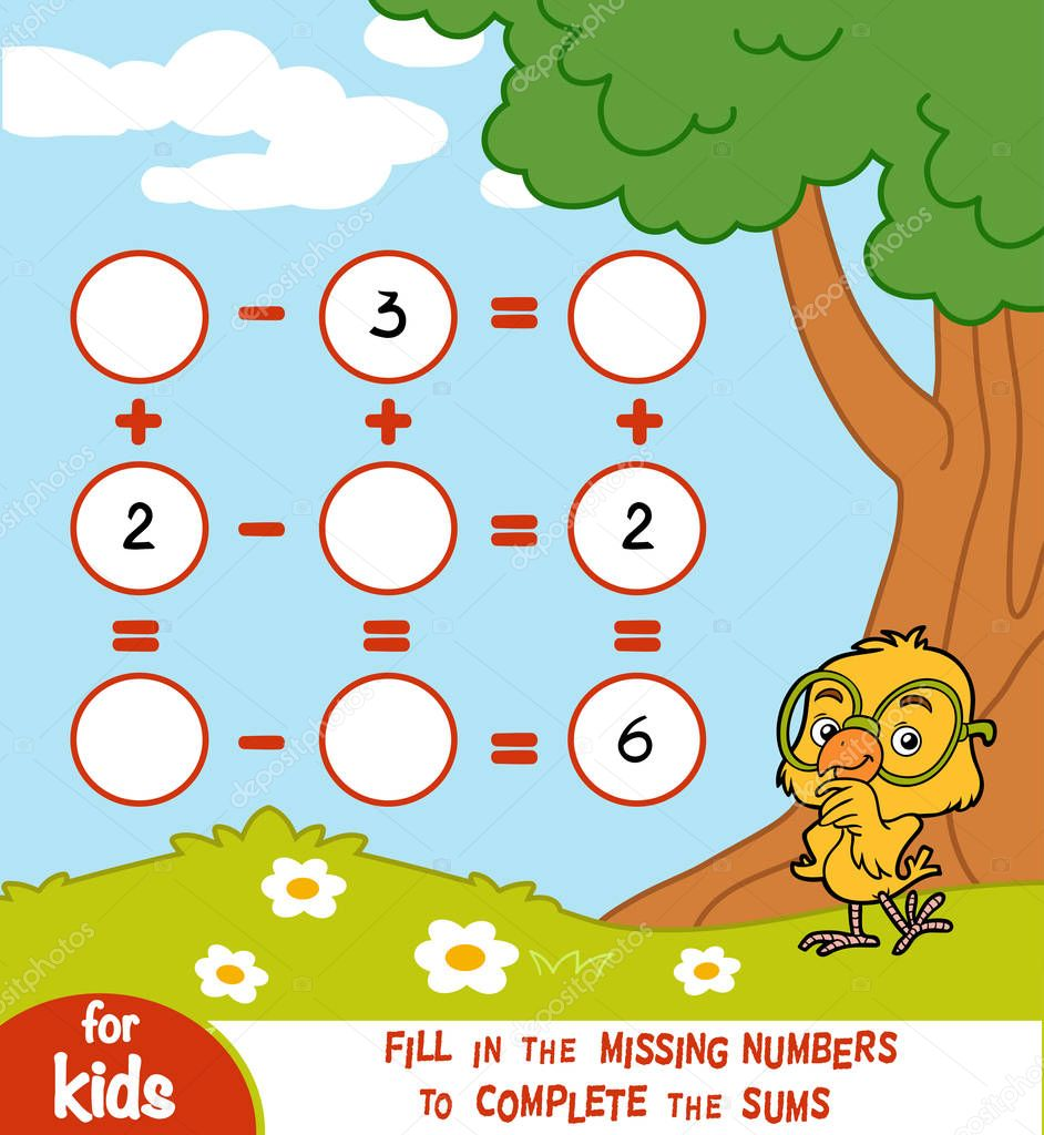 Counting Game for Preschool Children. Addition and subtraction worksheets on a summer background