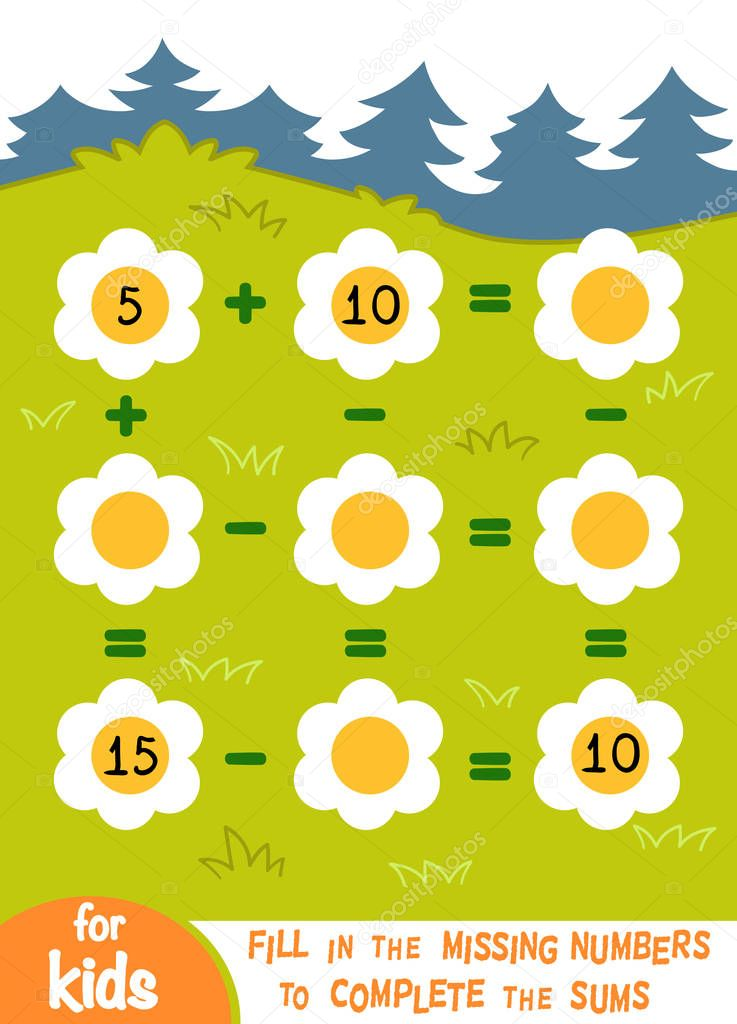 Counting Game for Preschool Children. Addition and subtraction worksheets on a background with a blooming glade