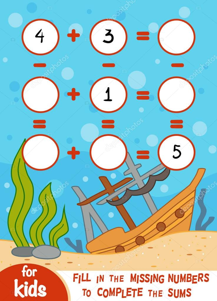 Counting Game for Preschool Children. Addition and subtraction worksheets on an underwater background