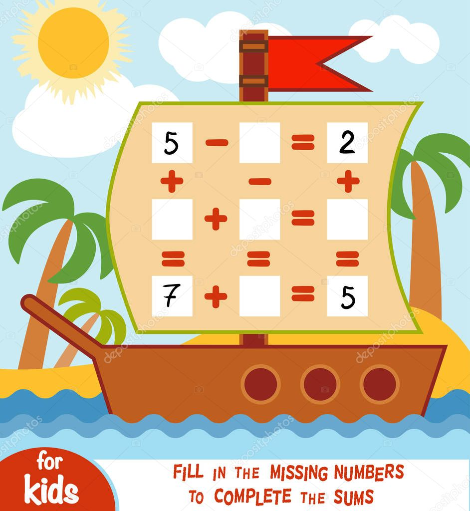 Counting Game for Preschool Children. Addition and subtraction worksheets in the background of the ship