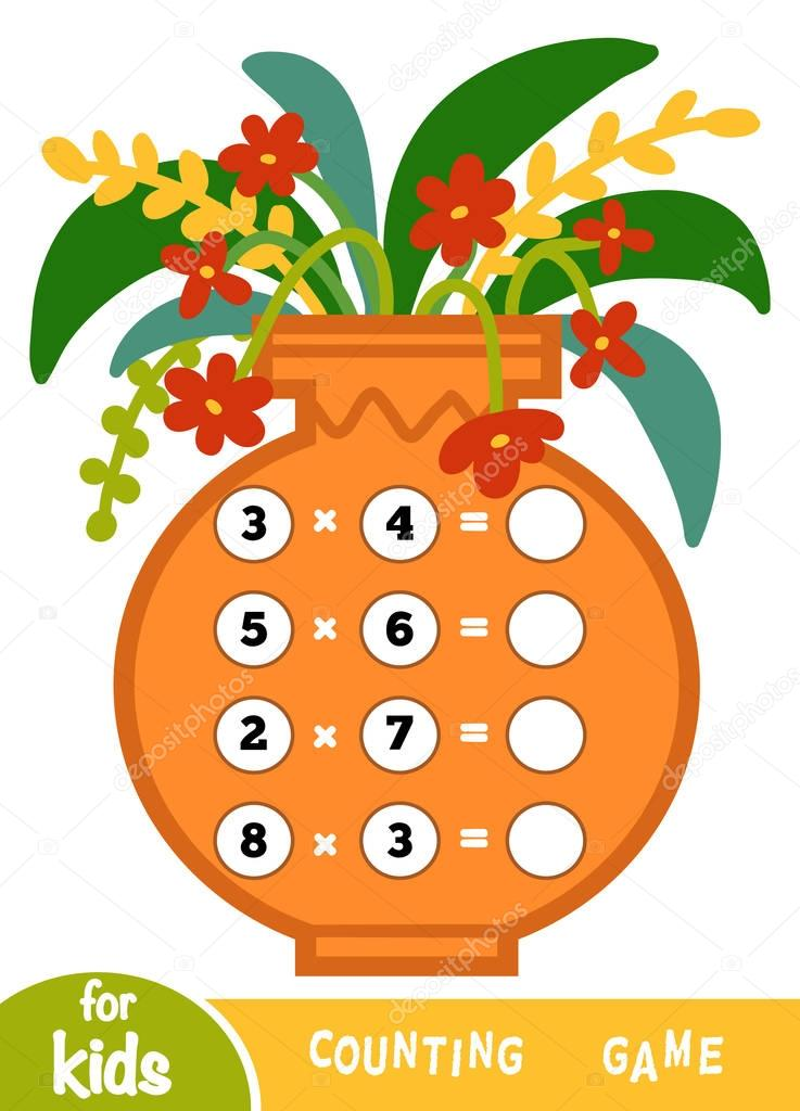 Counting Game for Children. Multiplication worksheets on background of a vase with flowers