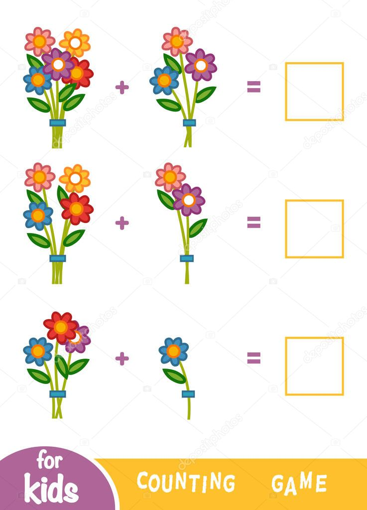 Counting Game for Children. Count the number of flowers and write the result