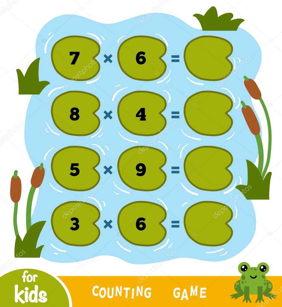 Counting Game for Children. Count the numbers in the picture and write the result