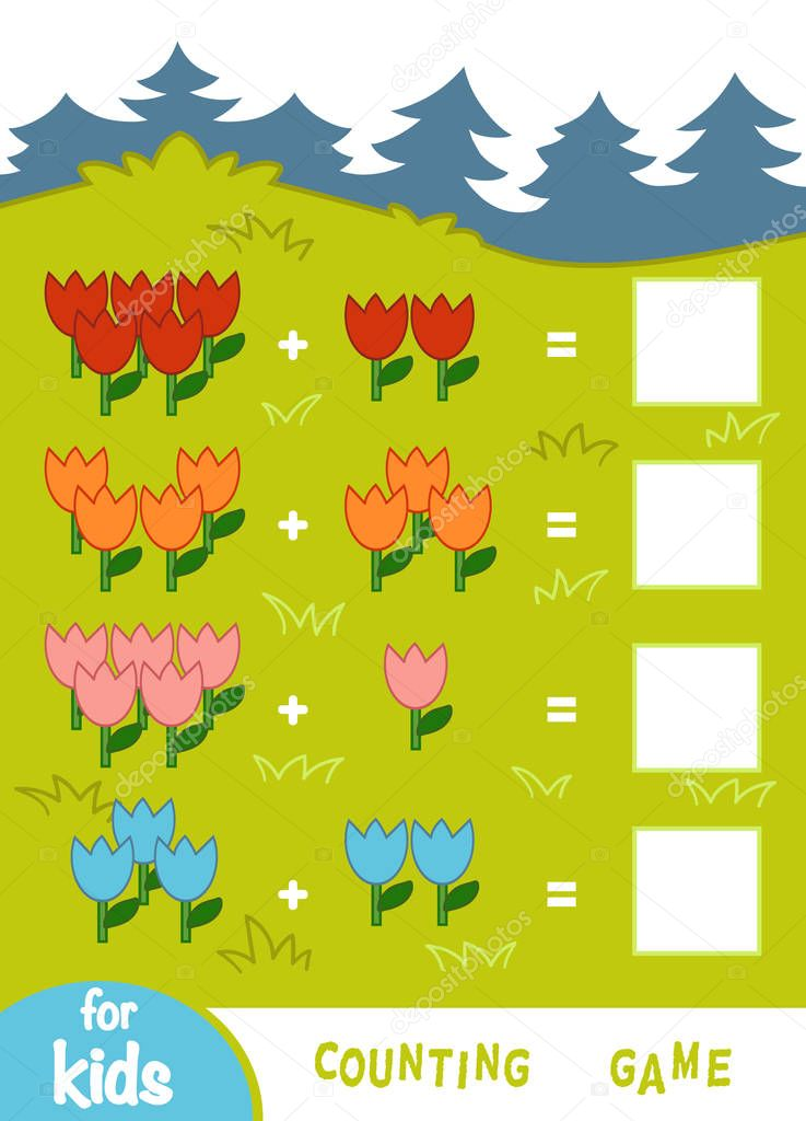 Counting Game for Children. Count the numbers of flowers and write the result