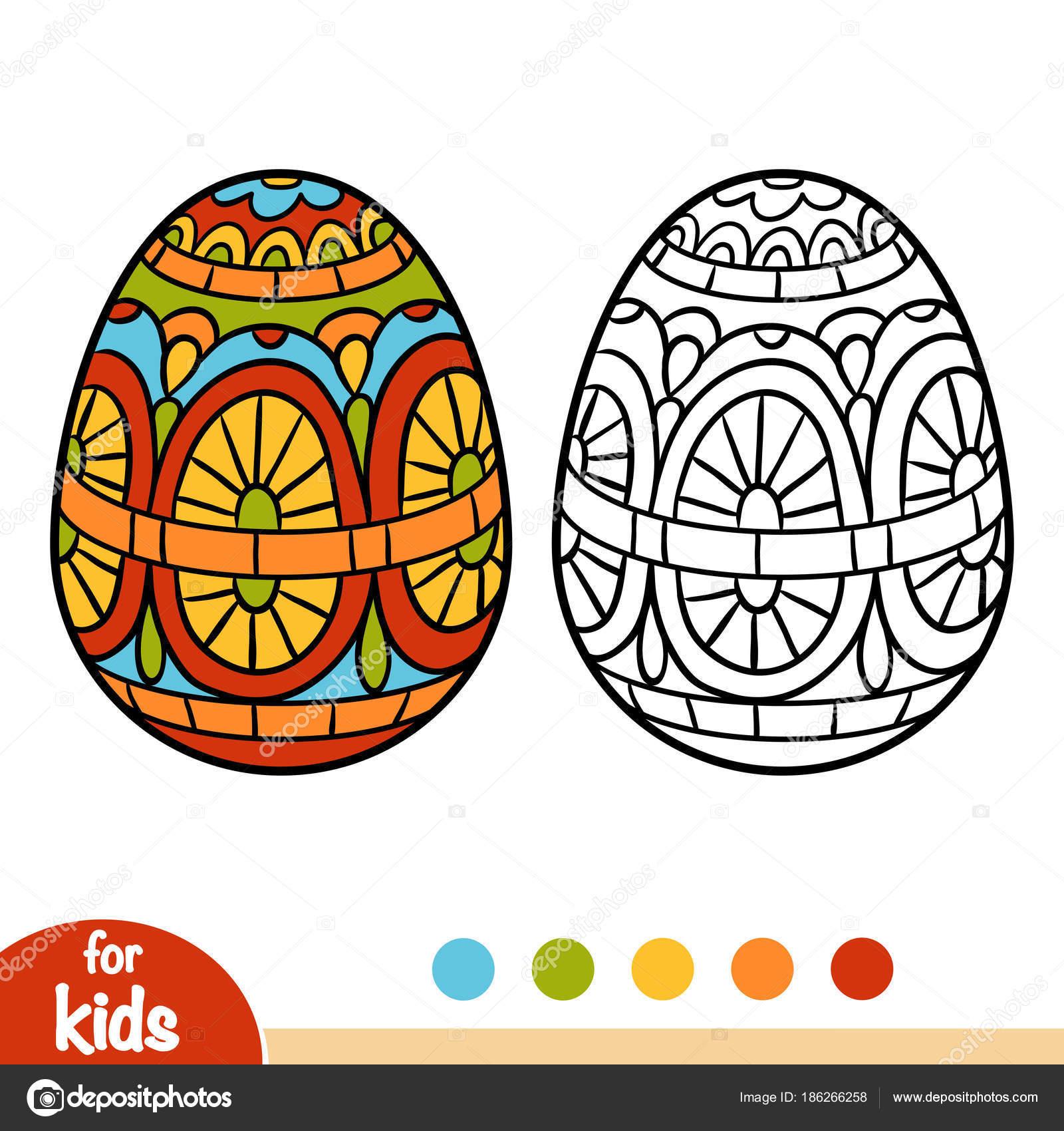 Раскраска, Пасхальное яйцо — Векторное изображение ...