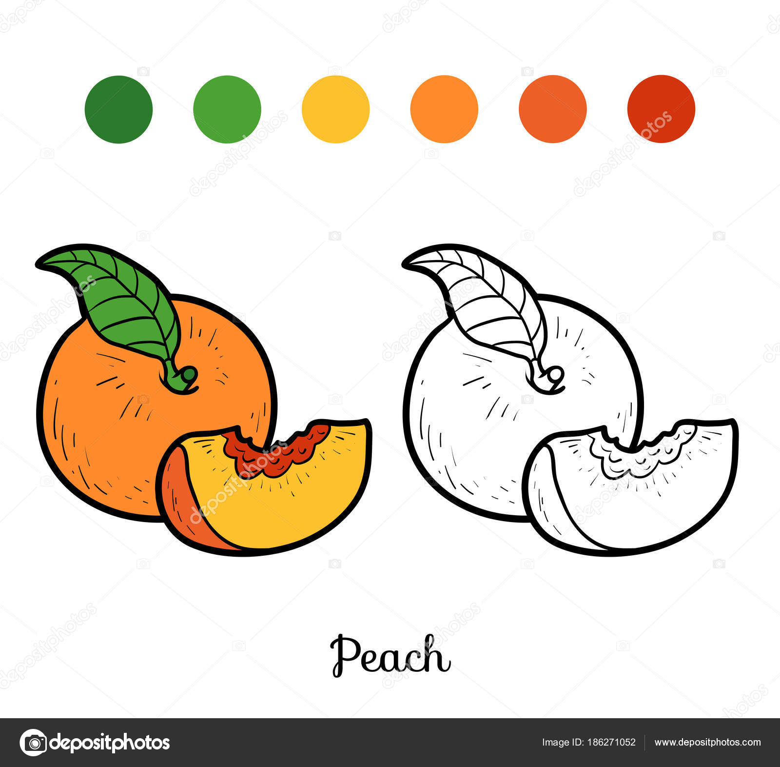 Coloring Book Peach Stock Vector C Ksenya Savva 186271052
