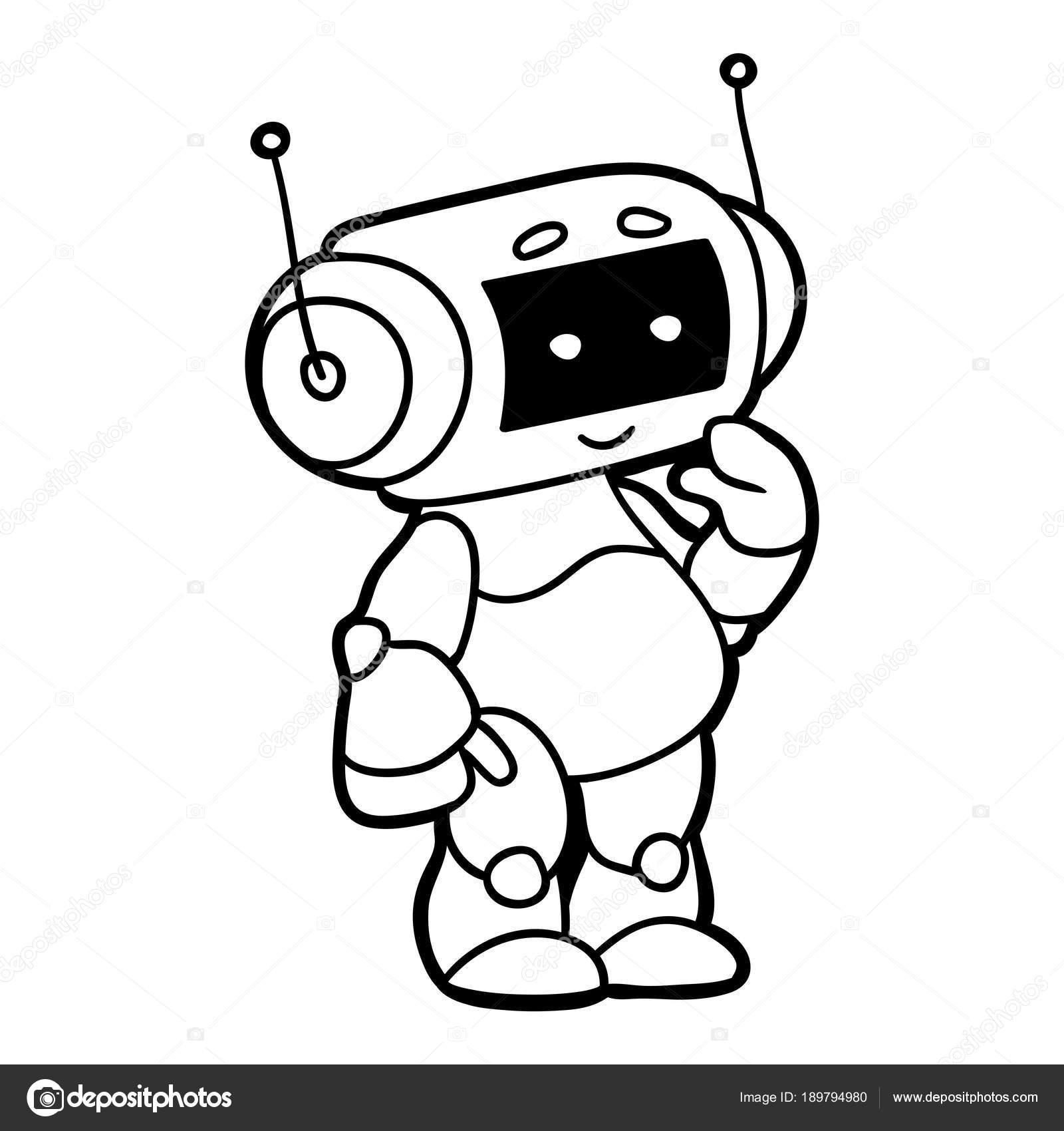 Robot çocuklar Için Boyama Kitabı Stok Vektör Ksenyasavva
