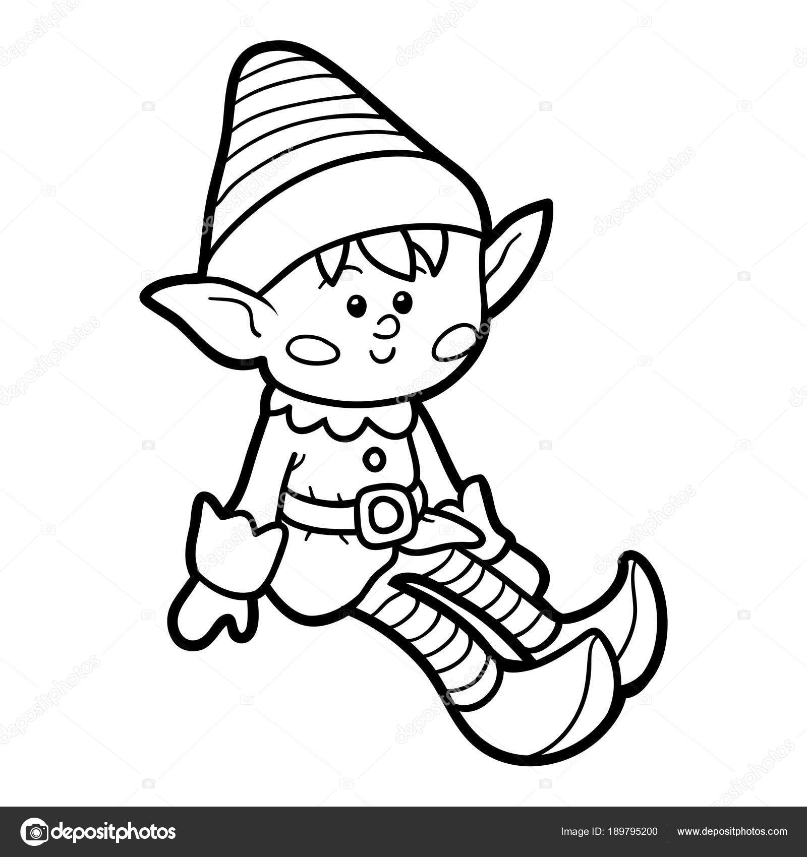Libro Da Colorare Per Bambini Elf Vettoriali Stock Ksenyasavva