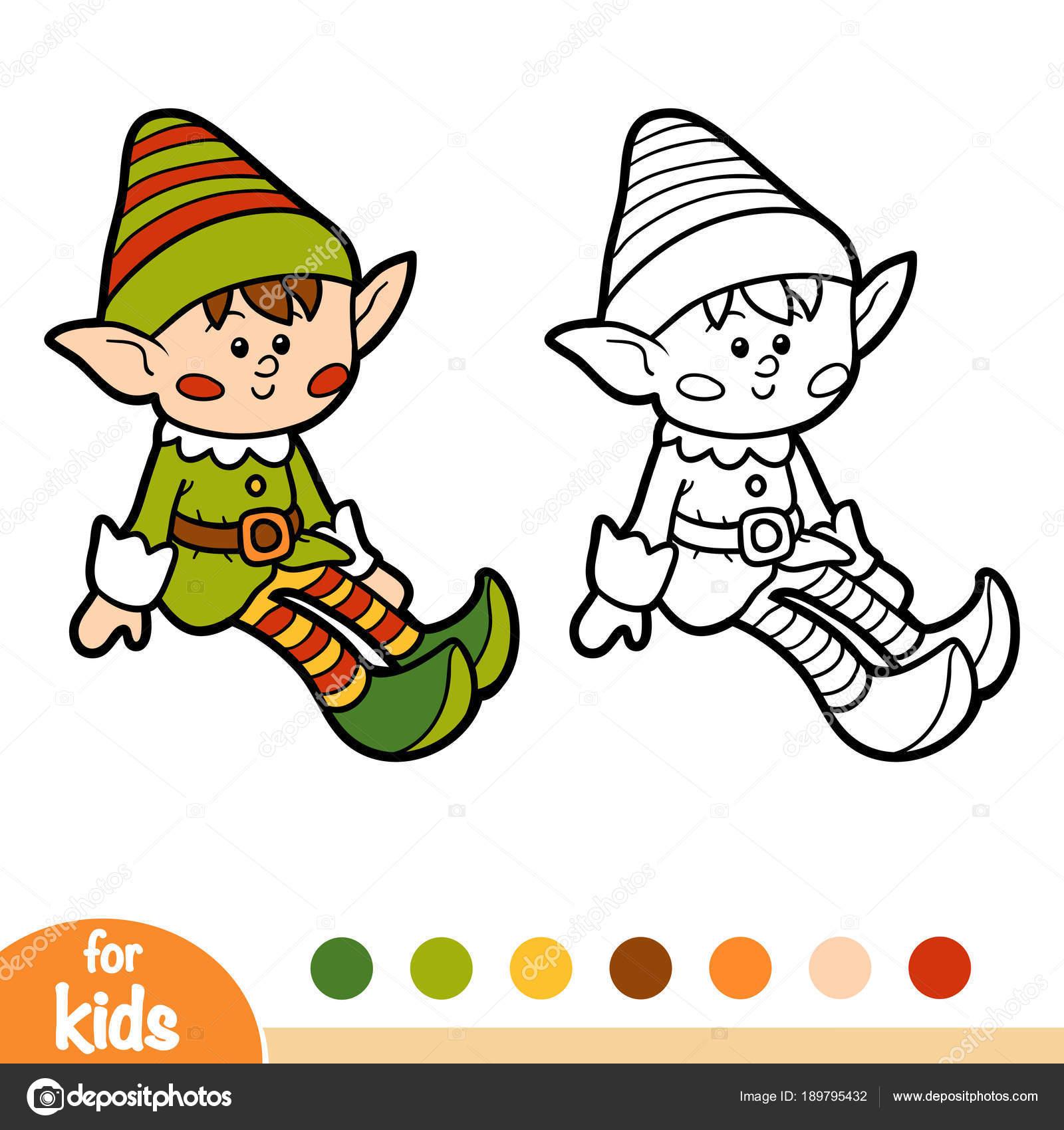 Libro de colorear para niños, Elf — Archivo Imágenes Vectoriales ...