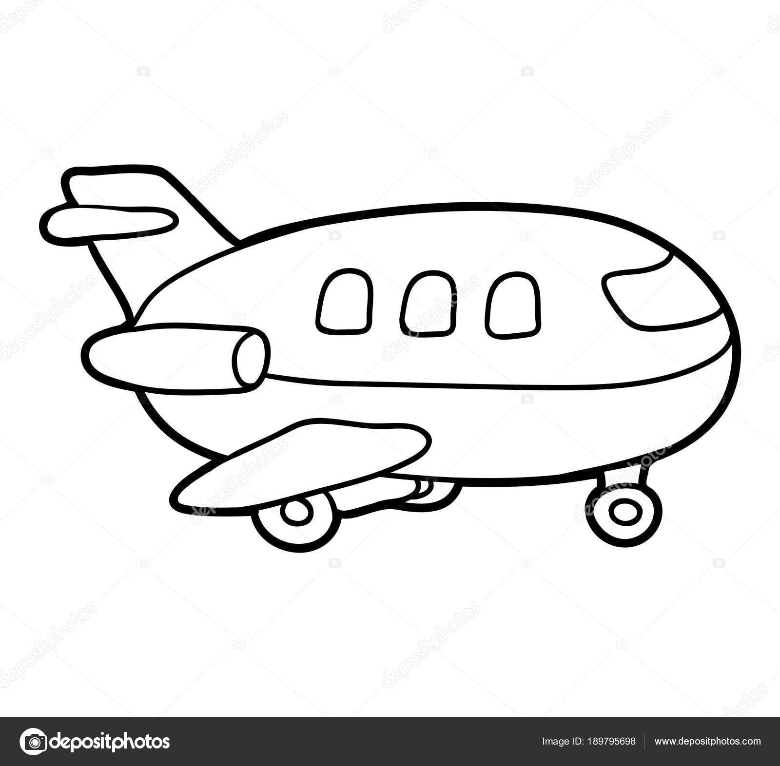 塗り絵飛行機 ストックベクター Ksenyasavva 189795698