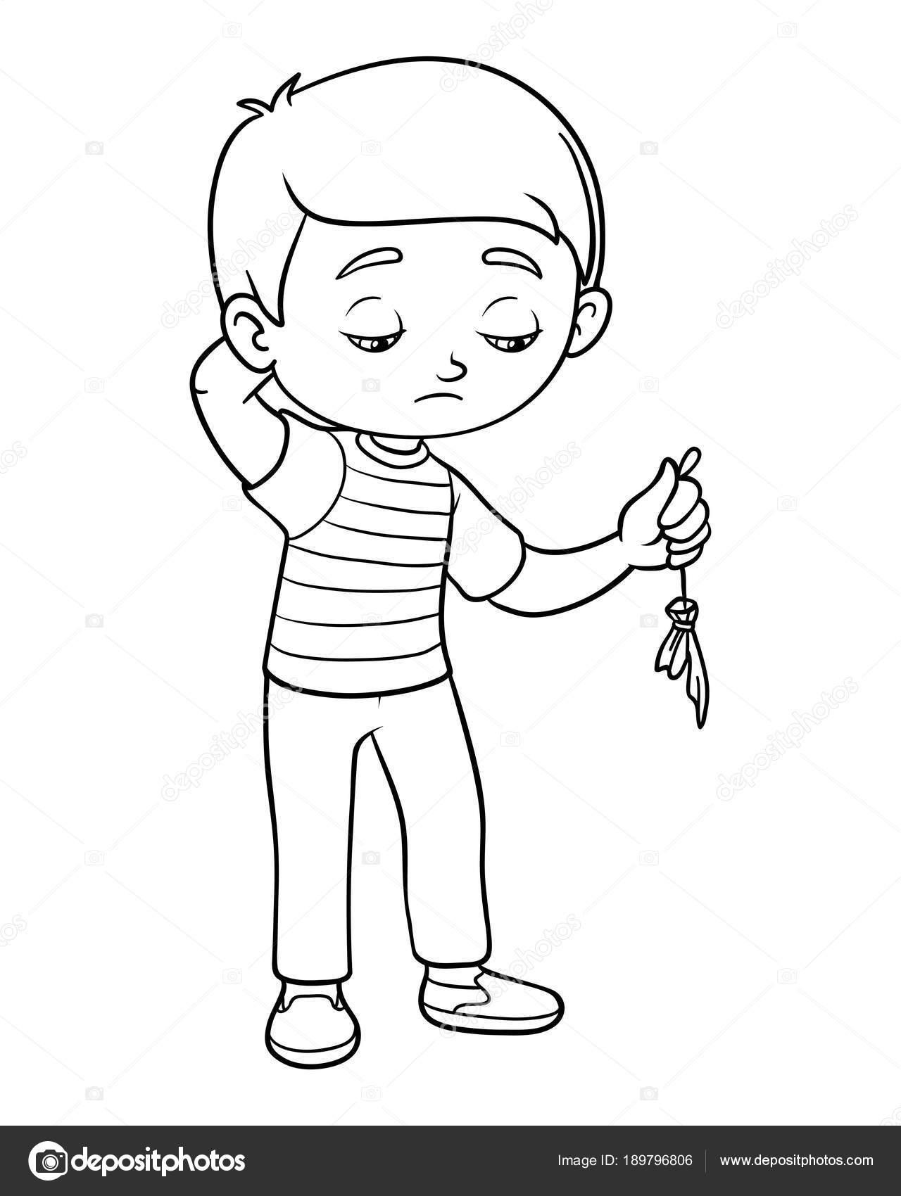 Imágenes Un Niño Para Colorear Libro Para Colorear Niño Triste