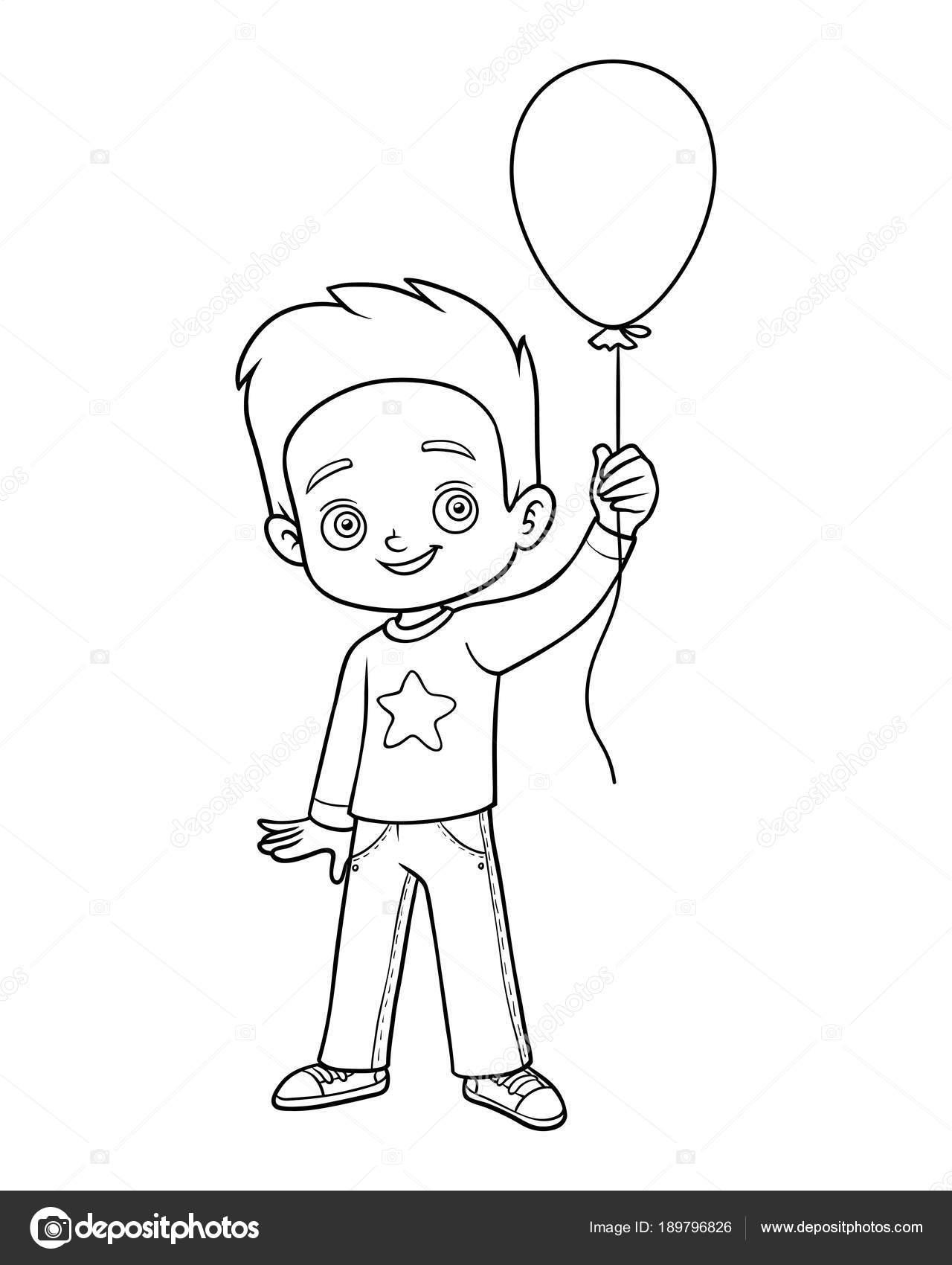 Coloring book, Boy and balloon — Stock Vector © ksenya_savva #189796826