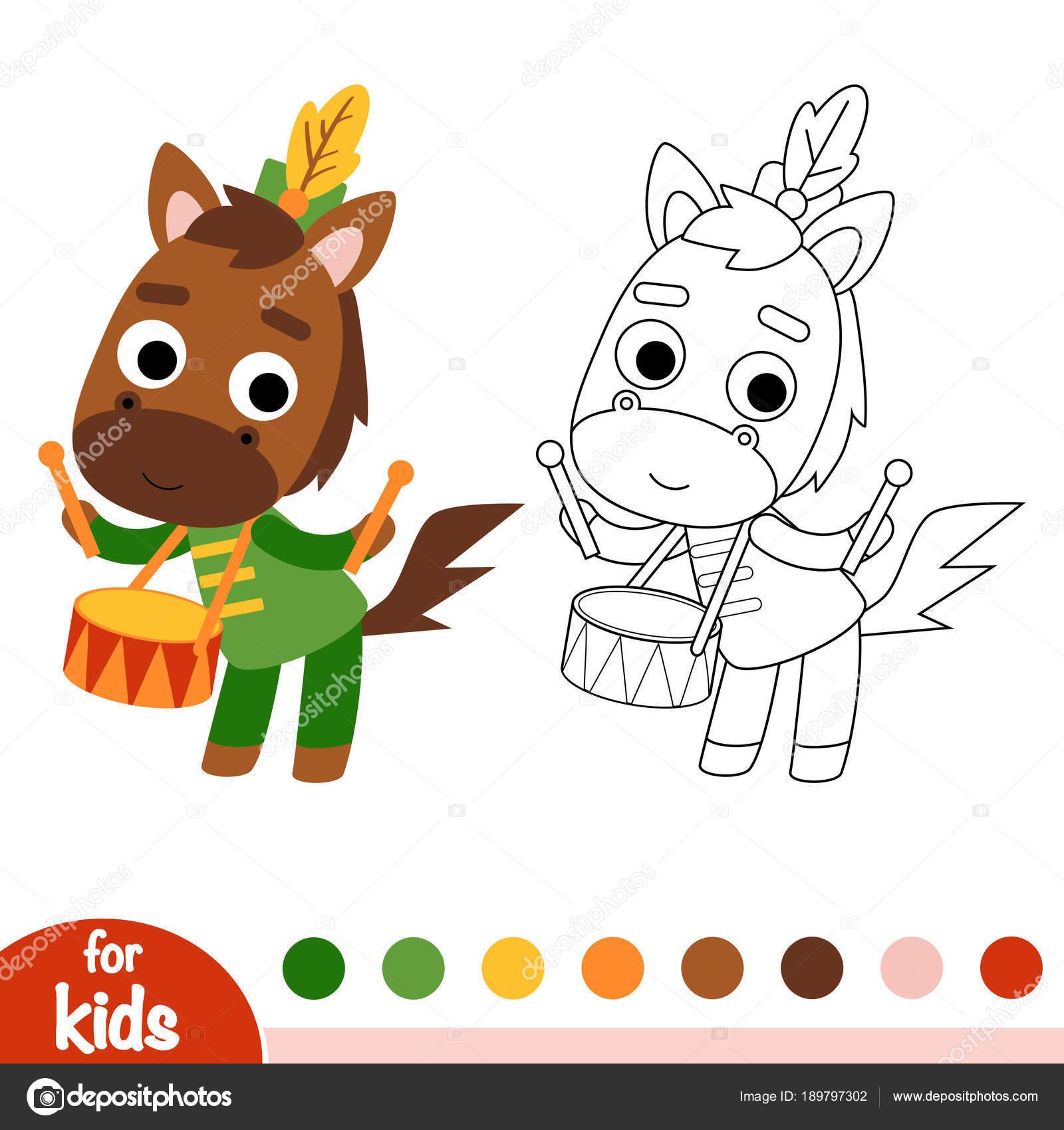 Libro de colorear, baterista de caballo — Vector de stock ...