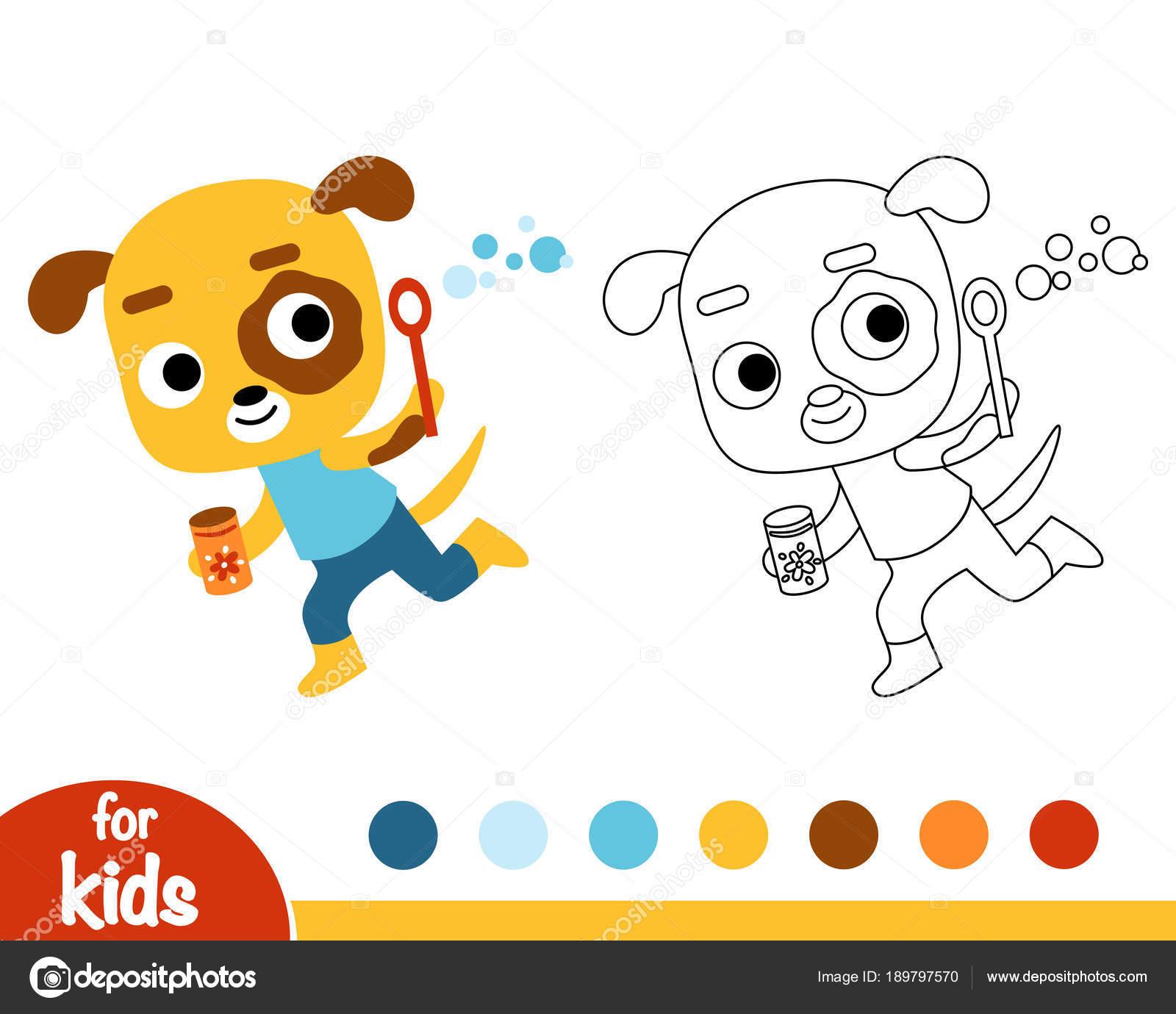 раскраска собака и мыльные пузыри векторное изображение
