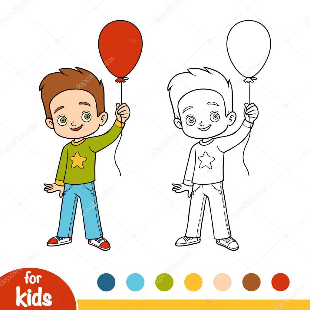 Раскраска, мальчик и воздушный шар — Векторное изображение ...