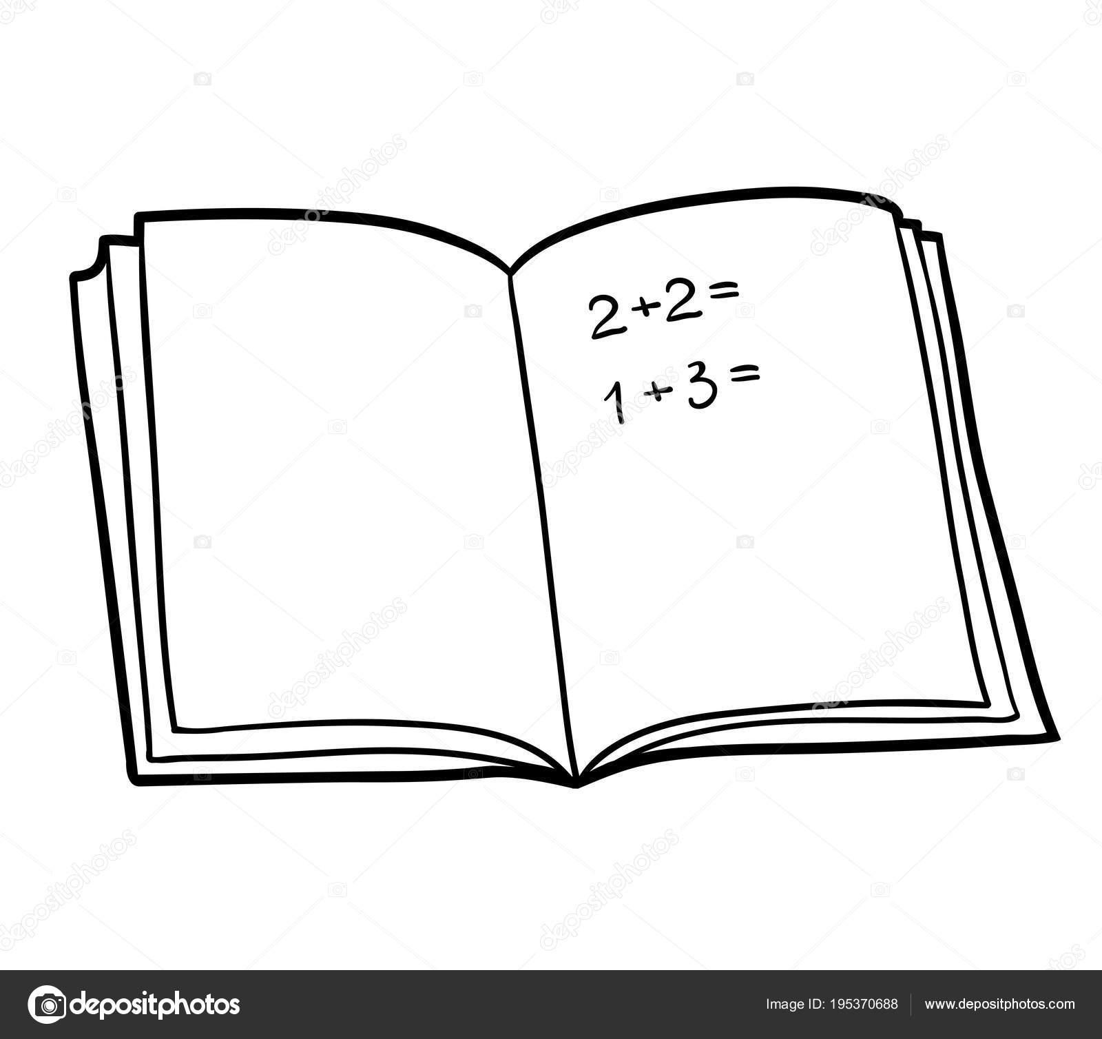 Libro para colorear, libro de matemáticas — Vector de stock ...