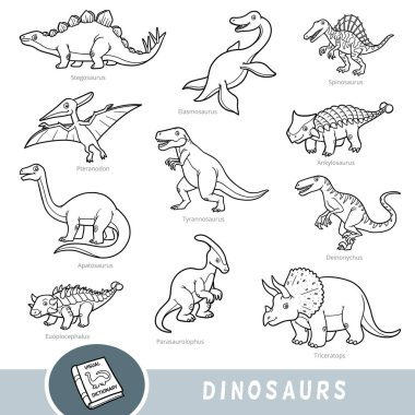 Black and white set of dinosaurs, collection of vector animals with names in English