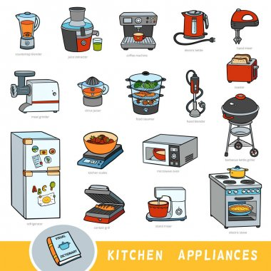 Color set of kitchen appliances, collection of vector items with names in English