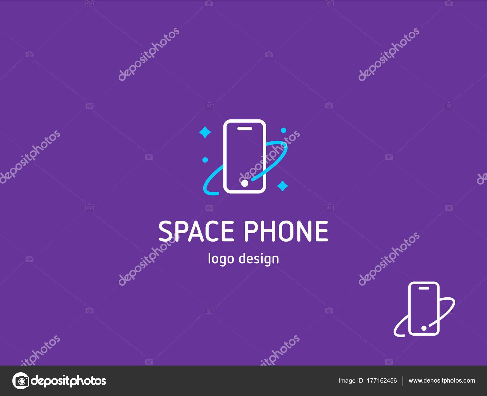 Modello Spazio Telefono Logo Vettoriale Telefono Cosmico Con Stelle