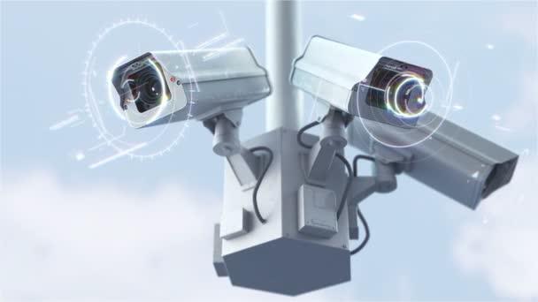 Futuristické bezpečnostní kamery skenování na ulici v rozlišení 4k