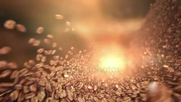 Coffee beans falling wave